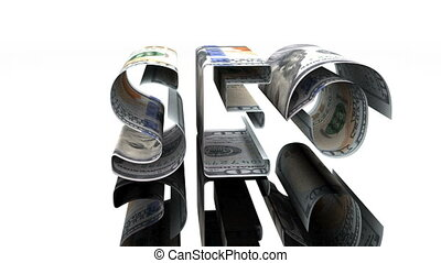 The word SEO consisting of US dollars, the concept of profit...