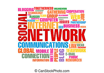 the word social network concept isolated on a white...