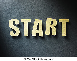 The word Start on paper background