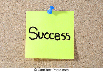The word Success handwritten with on a board