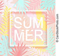The word summer is surrounded by tropical leaves.