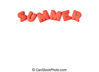 The word SUMMER spelled with orange red alphabet shaped cookies on a white background