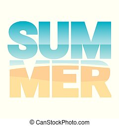 The word SUMMER stuffed with beach landscape vector illustration.