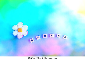 the word summer with flower on gradient