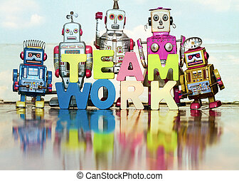 the word TEAM WORK  with wooden letters 1