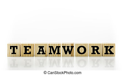 The word Teamwork on wooden cubes