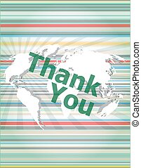 The word thank you on digital screen, social concept vector quotation marks with thin line speech bubble. concept of citation, info, testimonials, notice, textbox