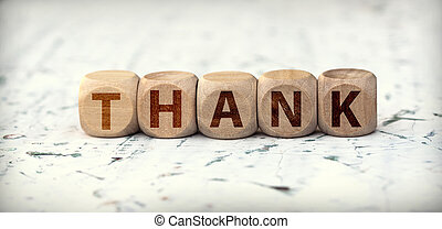 The word thank you on wooden cubes