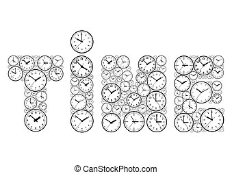The word time, made up of watch dials.