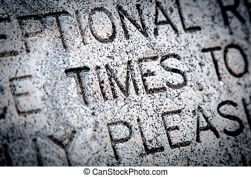 """The Word """"Times"""" on Granite"""