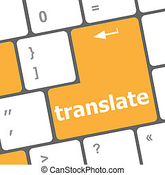 The word Translate on a computer keyboard key or button