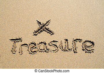 The word treasure written in the sand with an X.