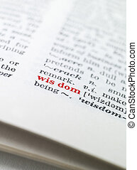 The word 'wisdom' highlighted in a dictionary