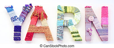 "the word ""yard"" created with brightly coloured knitting yard"