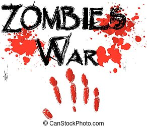 The word zombie war for HORROR in a bloody.