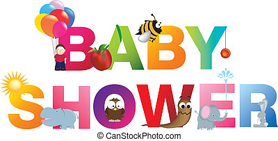 The words baby shower made up from alphabet cartoon letters ...