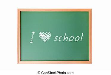 The words 'Back to School' written in chalk school blackboard isolated on white