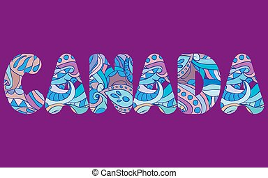 The words CANADA concept written in colorful abstract typography. Vector illustration.