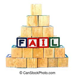 "The words ""FAIL"" spelled out in wooded block on a white background with copy space"