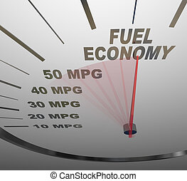 The words Fuel Economy on a vehicle speedometer with a red...