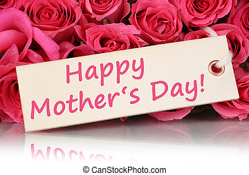 The words Happy mother's day with roses flowers