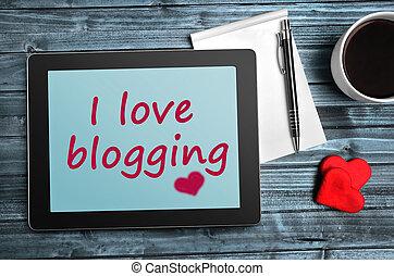 The words I love blogging on tablet