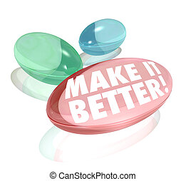 The words Make it Better on vitamins, supplements, pills or capsules to deliver increases or improvements in health, business revenue or other results