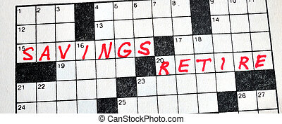 The Words Savings and Retire on Crossword Puzzle