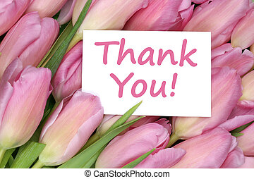 Thank You on greeting card gift with tulips flowers