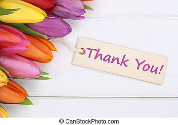 Thank You with tulips flowers