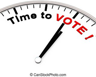 The words TIME TO VOTE on a clock