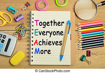 The words Together Everyone Achieves More