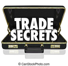 The words Trade Secrets in an opening black leather...