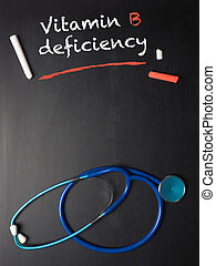 The words Vitamin B deficiency on a chalkboard