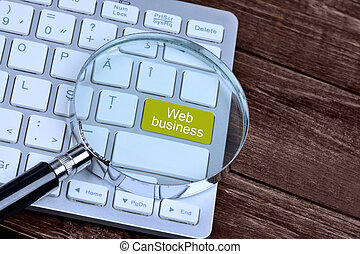 The words Web business on keyboard button