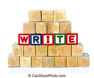 "The words ""WRITE"" spelled out in wooded block on a white background with copy space"