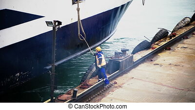 The working port receives mooring lines.