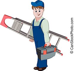 The workman or handyman standing with ladder and a toolbox