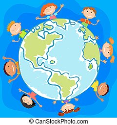 The world children in a circle kids smile white background