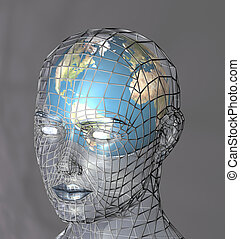 Globe within a transparent head, perhaps representing the potential of the mind, intellect or psyche. 3d conceptual render.