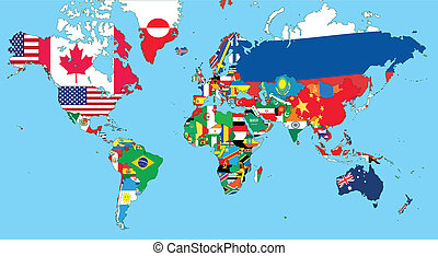 The world map with all states and their flags