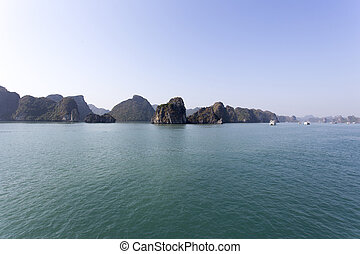the world natural heritage Halong Bay during winter, Vietnam