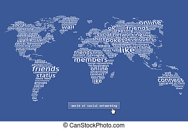 The world of social networking - World map make with social...