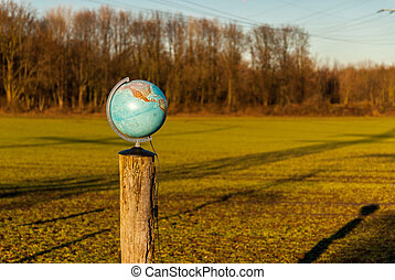The world on stake on an open field
