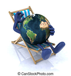 the world relaxing on a beach chair, 3d illustration