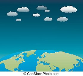 The world with clouds background