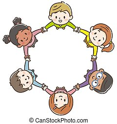 The world's children in a circle white background