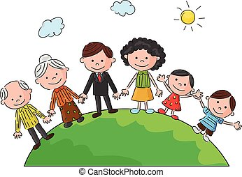 The world's complete family cartoon - Vector illustration of...