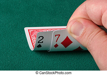 2 and 7 off suit - worst possible starting hand in texas holdem poker