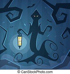 The Wraith - Cartoon illustration of the wraith with lantern...
